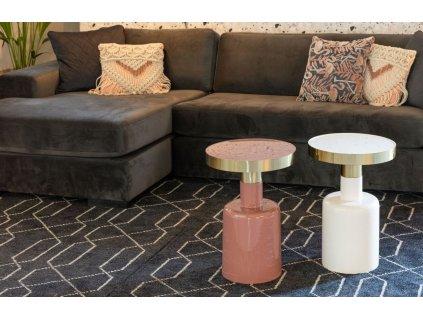 Smaltovaný bílý odkládací stolek Glam