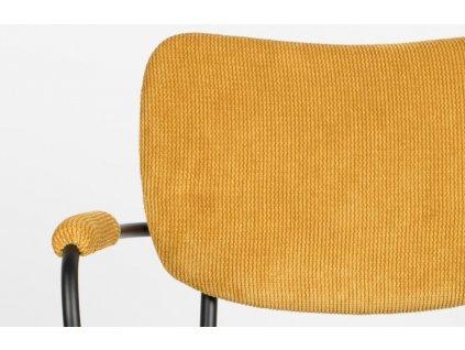 Okrová látková židle ZUIVER BENSON s područkami