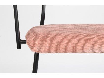 Růžová látková židle ZUIVER BENSON s područkami