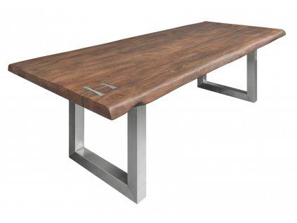 Masivní dřevěný akátový jídelní stůl Holz III 240x100 cm s kovovou podnoží