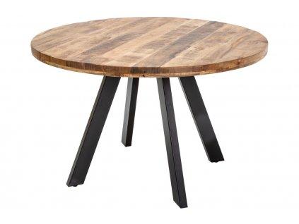 Masivní kulatý jídelní stůl Fabio 120 cm s kovovou podnoží