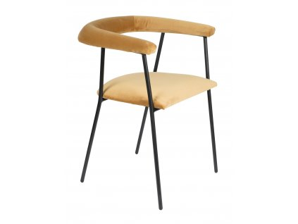 Zlatá sametová jídelní židle DUTCHBONE Haily