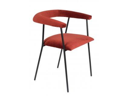 Vínově červená sametová jídelní židle DUTCHBONE Haily