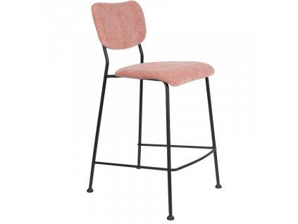Růžová barová látková židle ZUIVER BENSON 92 cm