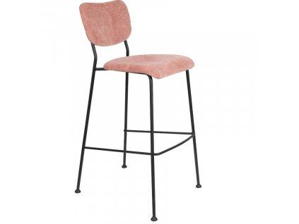 Růžová barová látková židle ZUIVER BENSON 102,2 cm
