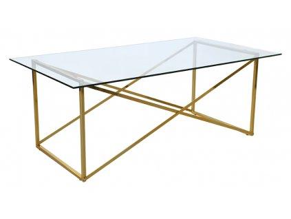 Skleněný odkládací stolek RGE Cross s kovovou podnoží ve zlaté barvě