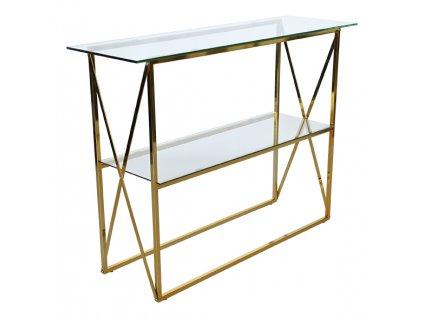 Skleněný toaletní stolek RGE Cross s kovovou podnoží ve zlaté barvě