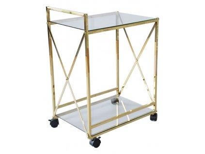Skleněný servírovací stolek RGE Cross s kovovou podnoží ve zlaté barvě