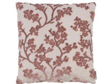 Růžový polštář ZUIVER April s květinovým vzorem