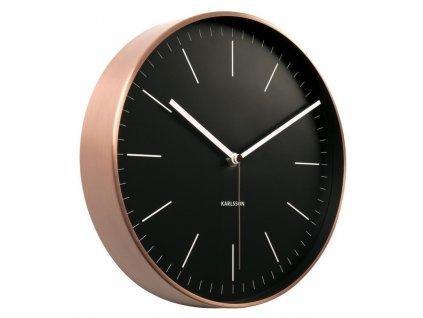 Černo měděné kulaté nástěnné hodiny Okel