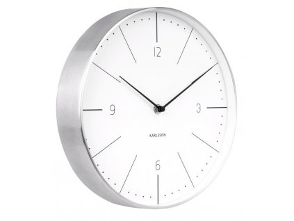Bílo stříbrné kulaté nástěnné hodiny Honk