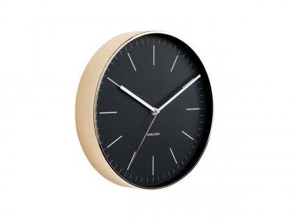 Černo zlaté kulaté nástěnné hodiny Okel