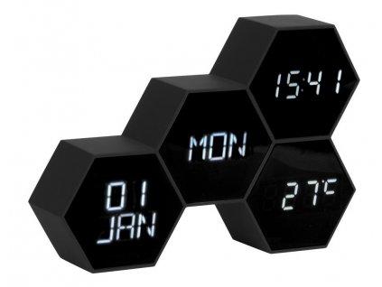 Černý budík Level VI. s bílým LED displejem