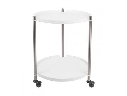 Bílo stříbrný odkládací stolek Haran