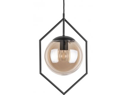 Jantarově hnědé skleněné závěsné světlo Jewel s kovovým rámem