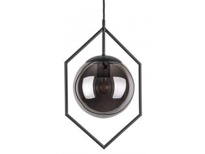 Tmavě šedé skleněné závěsné světlo Jewel s kovovým rámem