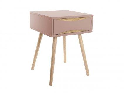 Růžový dřevěný noční stolek Valentino I. s dřevěnou podnoží