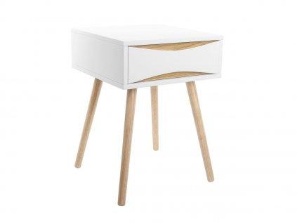 Bílý dřevěný noční stolek Valentino I. s dřevěnou podnoží a s šuplíkem