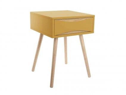 Okrový žlutý dřevěný noční stolek Valentino I. s dřevěnou podnoží