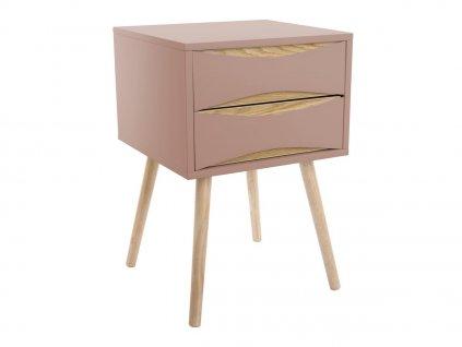 Růžový dřevěný noční stolek Valentino II. se šuplíky s dubovou podnoží