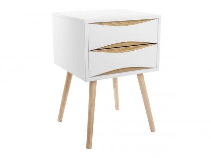 Bílý dřevěný noční stolek Valentino II. se dvěma zásuvkami