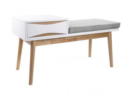 Bílá dřevěná lavice Valentino s úložným prostorem