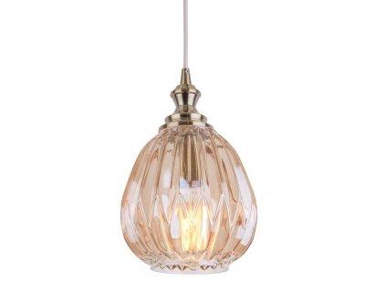 Jantarově hnědé skleněné závěsné světlo Adrianna s kovovým držákem