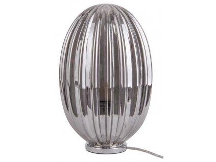 Kouřově šedá stolní skleněná oválná lampa Anastacia I.