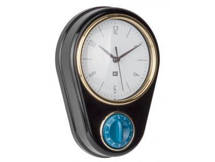 Černé nástěnné hodiny Reem s časovačem