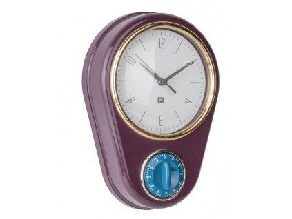 Fialové nástěnné hodiny Reem s časovačem