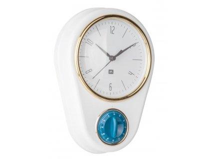 Bílé nástěnné hodiny Reem s časovačem
