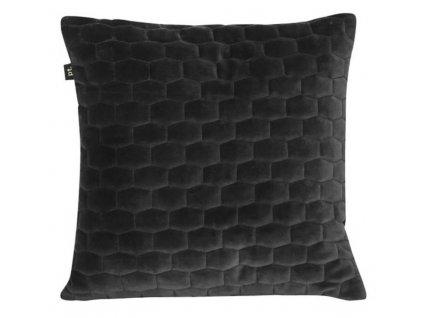 Černý sametový látkový čalouněný polštář Paddy 35x35 cm