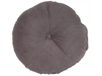 Šedý kulatý sametový polštář Aume