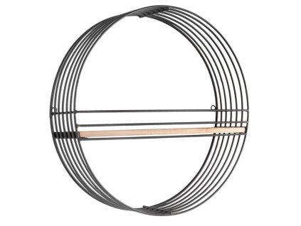 Kruhová kovová police Jackson s dřevěnou poličkou