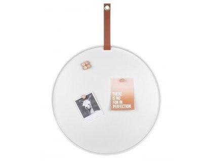 Bílá magnetická kovový nástěnka Dalia 50 cm s šesti magnety