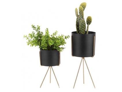 Set dvou černých kovových květináčů Prince se zlatou kovovou podnoží
