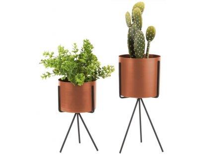 Set dvou bronzových kovových květináčů Prince