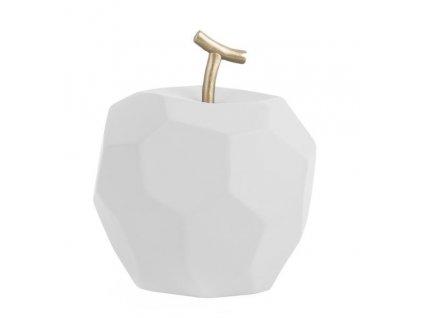 Bílá betonová dekorace Origami ve tvaru jablka