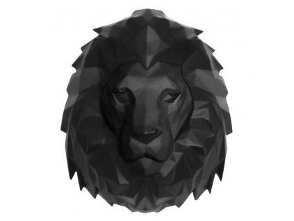 Černá nástěnná dekorace Origami ve tvaru lví hlavy