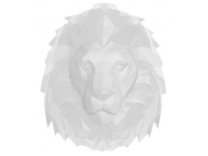 Bílá nástěnná dekorace Origami ve tvaru lví hlavy