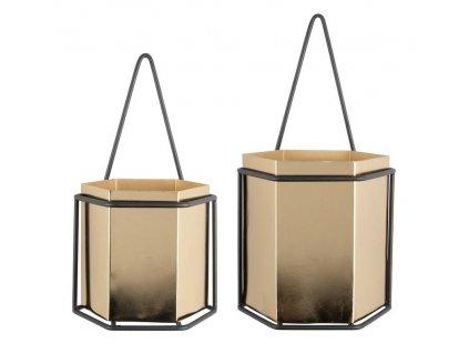 Set dvou zlatých kovových květináčů Darla s černým kovovým rámem a industriálním designem