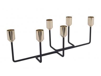 Minimalistický černo-zlatý svícen Muni
