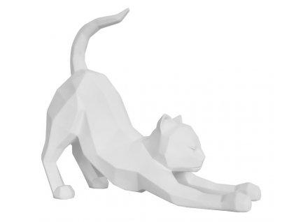Bílá dekorativní protahující se kočka Origami