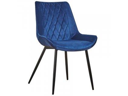 Nebesky modrá sametová jídelní židle Calista