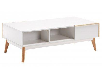 Bílý TV stolek LaForma Meety 120x40 cm s dubovou podnoží