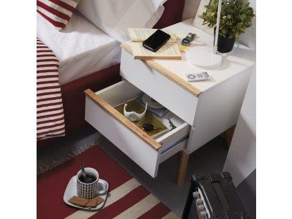 Bílý noční stolek LaForma Meety s dřevěnou podnoží