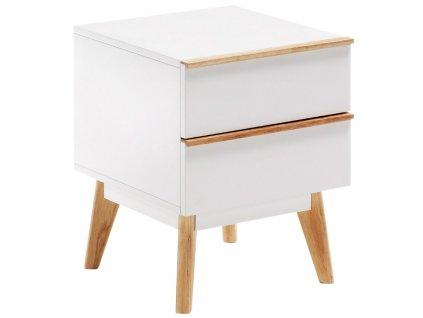 Bílý dřevěný noční stolek LaForma Meety 50 x 42,5 cm
