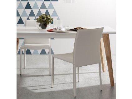 Bílý jídelní stůl LaForma Meety 160x90 cm s dubovou podnoží