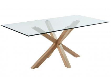 Skleněný jídelní stůl LaForma Arya 200x100 cm s přírodní podnoží
