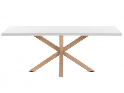 Bílý dřevěný jídelní stůl LaForma Arya 200x100 cm s přírodní podnoží